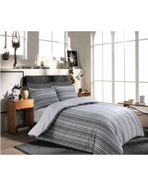 Tata cotton rich complete bedding set in Silver Black Colour