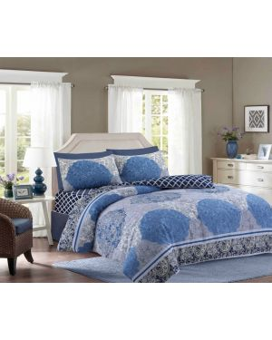 Tata cotton rich complete bedding set in blue Colour