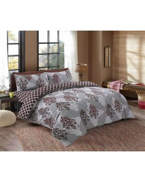 Tata cotton rich complete bedding set in Grey Colour
