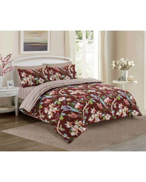 Tata cotton rich complete bedding set in Burgundy Colour