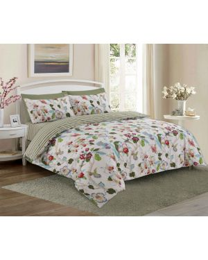 Tata cotton rich complete bedding set in Cream Colour