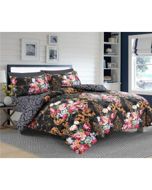 Tata Floral Black cotton rich complete bedding set