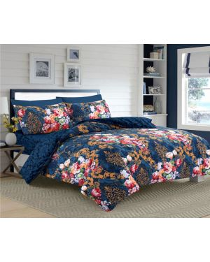 Tata Floral Navy cotton rich complete bedding set
