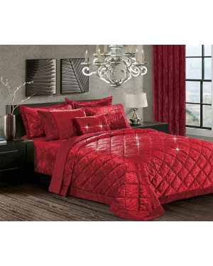 Caconda burgundy Crushed velvet bedspread with pillow shams