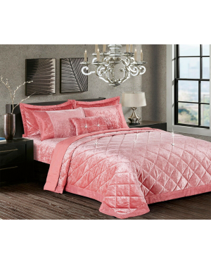Caconda blush Pink Crushed velvet bedspread with pillow shams