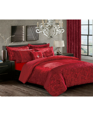 Burgundy Crushed velvet soyo Duvet Cover Set