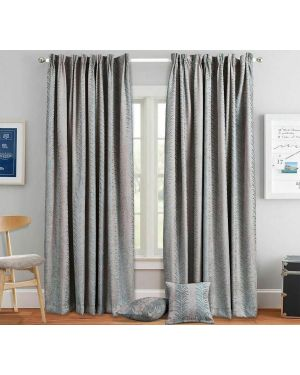 Luxury Pencil Pleat Heavy Jacquard Coffee Curtain Pair Ready Made Fully Lined with Tiebacks