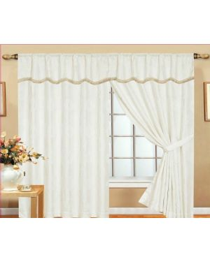 White Glitter curtains pair pencil pleat ready made with pelmet and tieback