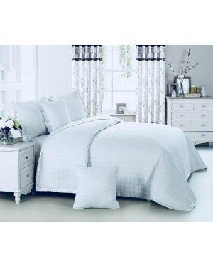 White Massango plain dyed bedspread with pillow shams