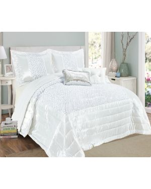 Balathy White fully sequence bedspread with pillow shams